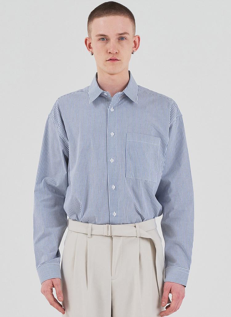 ワンポケストライプシャツ(BLUE)