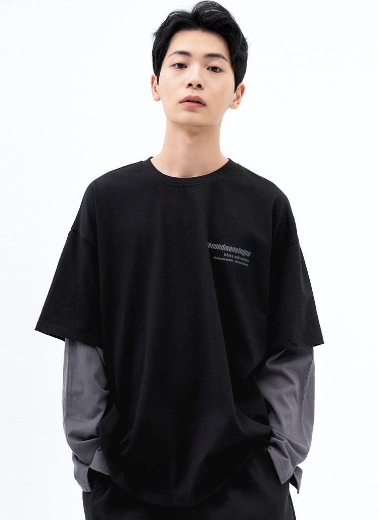 ミニレタリングレイヤードTシャツ(BLACK)