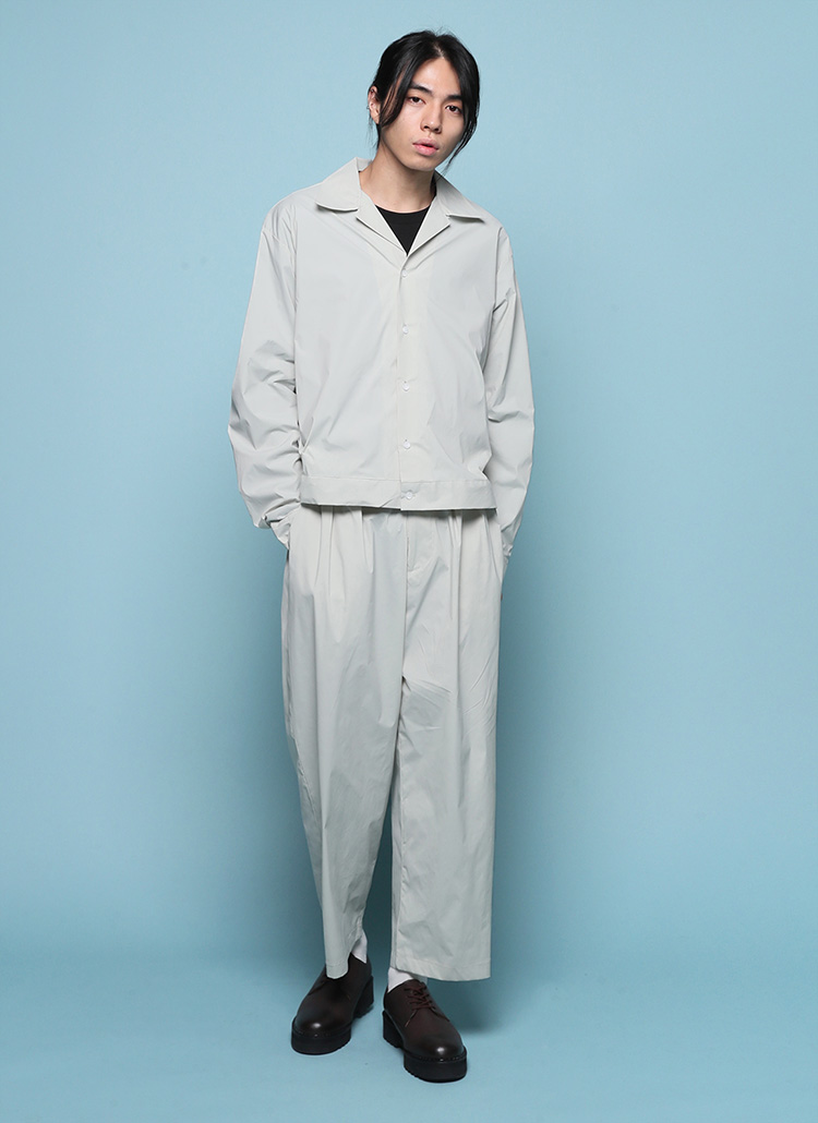開襟シャツジャケット&ボタンワイドタックパンツSET・全3色