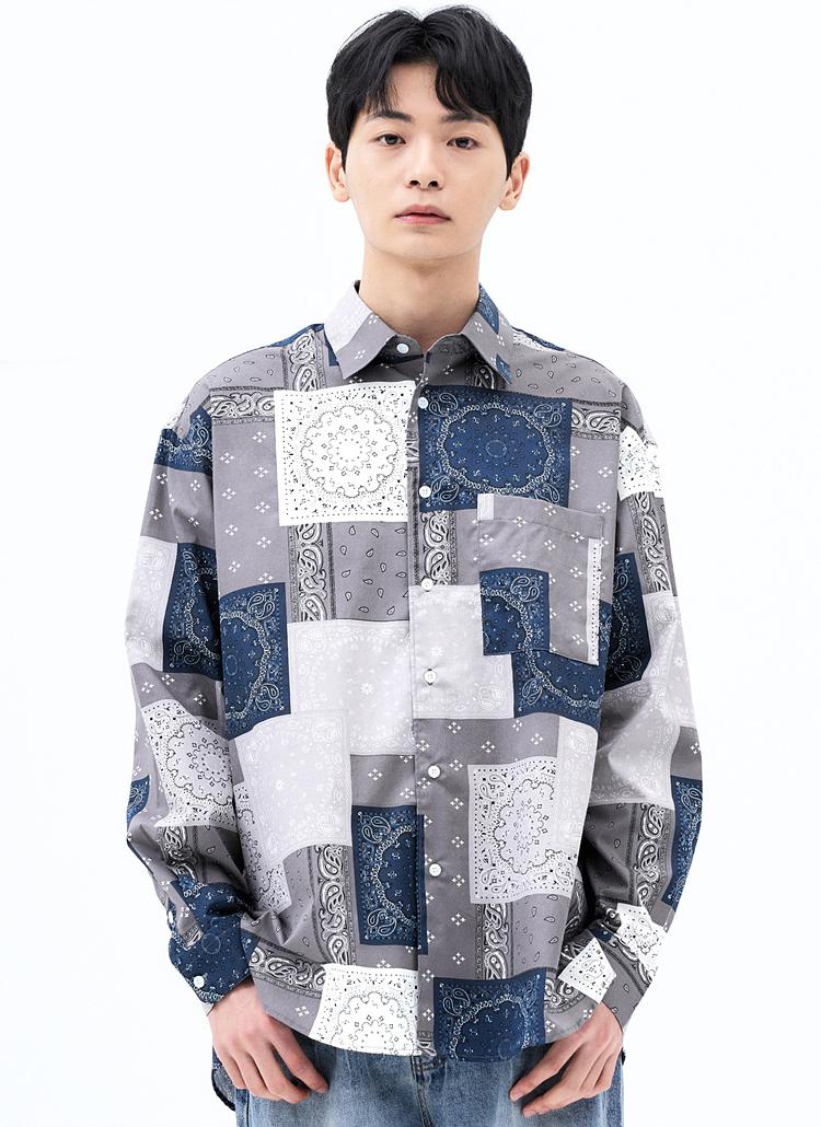 スクエアペイズリーシャツ(NAVY)