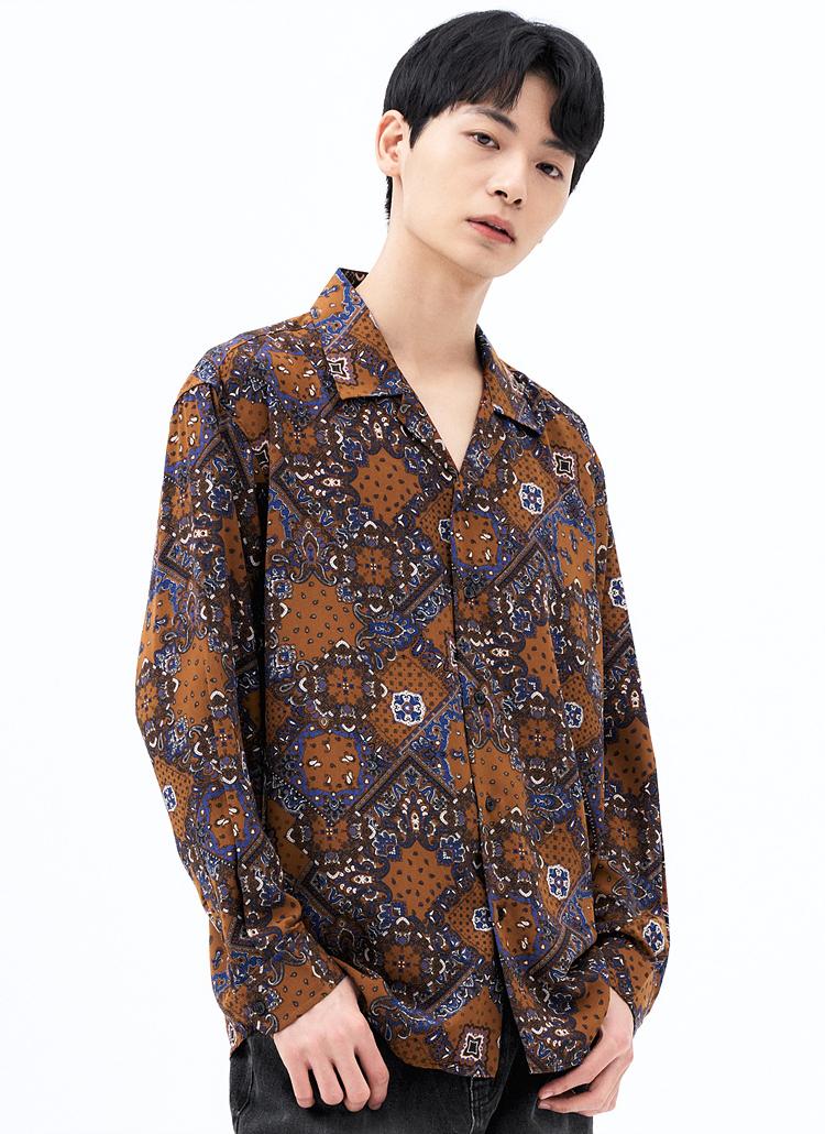 ダイヤペイズリーシャツ(D/ORANGE)