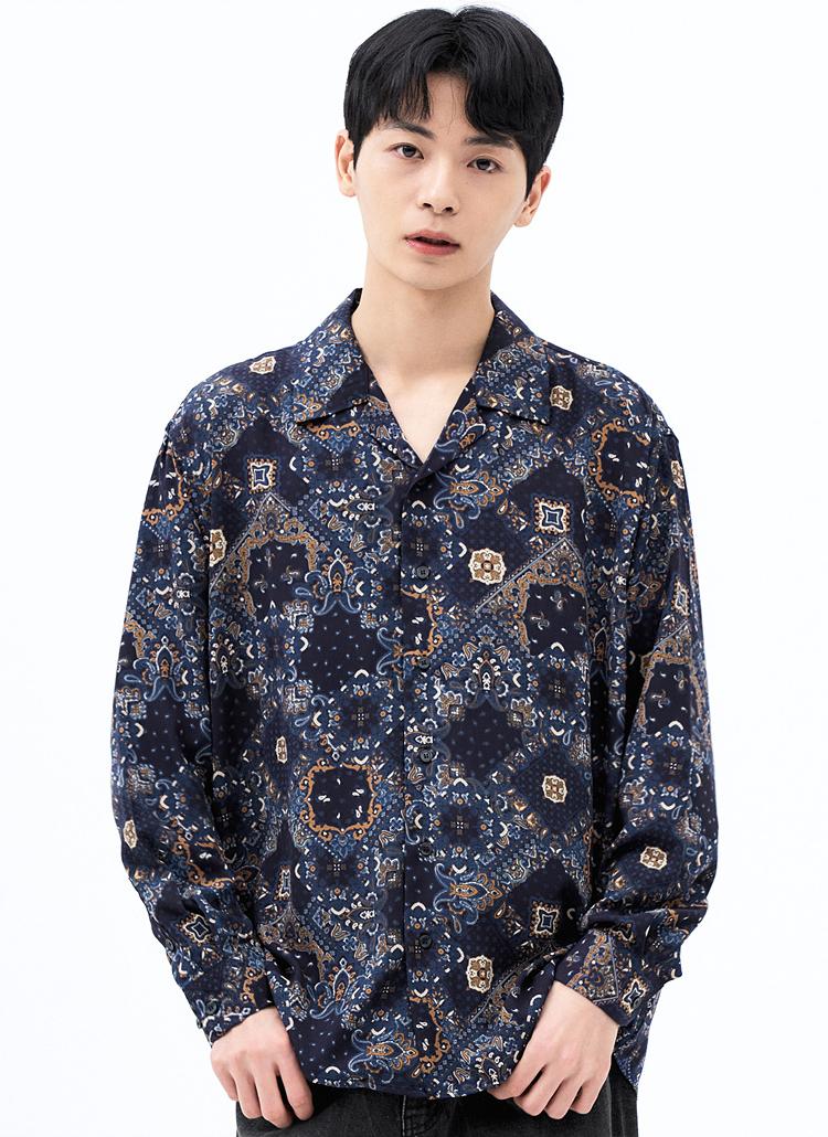 ダイヤペイズリーシャツ(NAVY)
