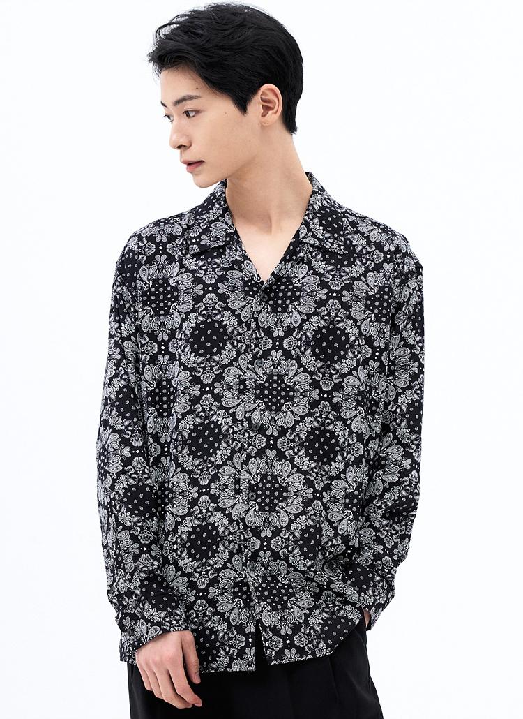 ペイズリーパターンシャツ(BLACK)