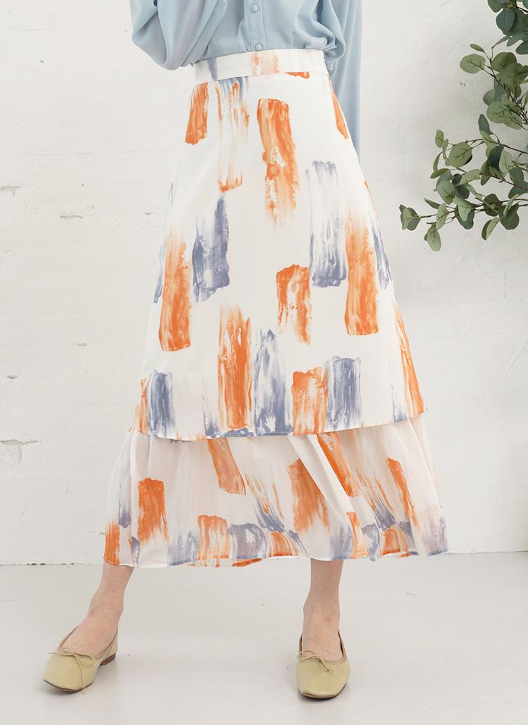 ペイント柄フレアスカート・全2色