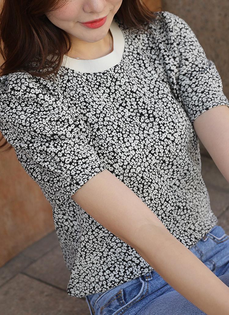 タックショルダー花柄Tシャツ