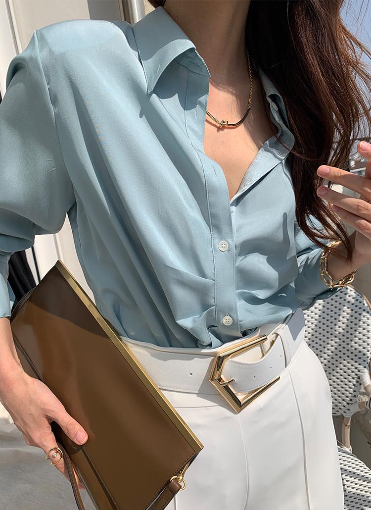 テンセル混フロントピンタックシャツ