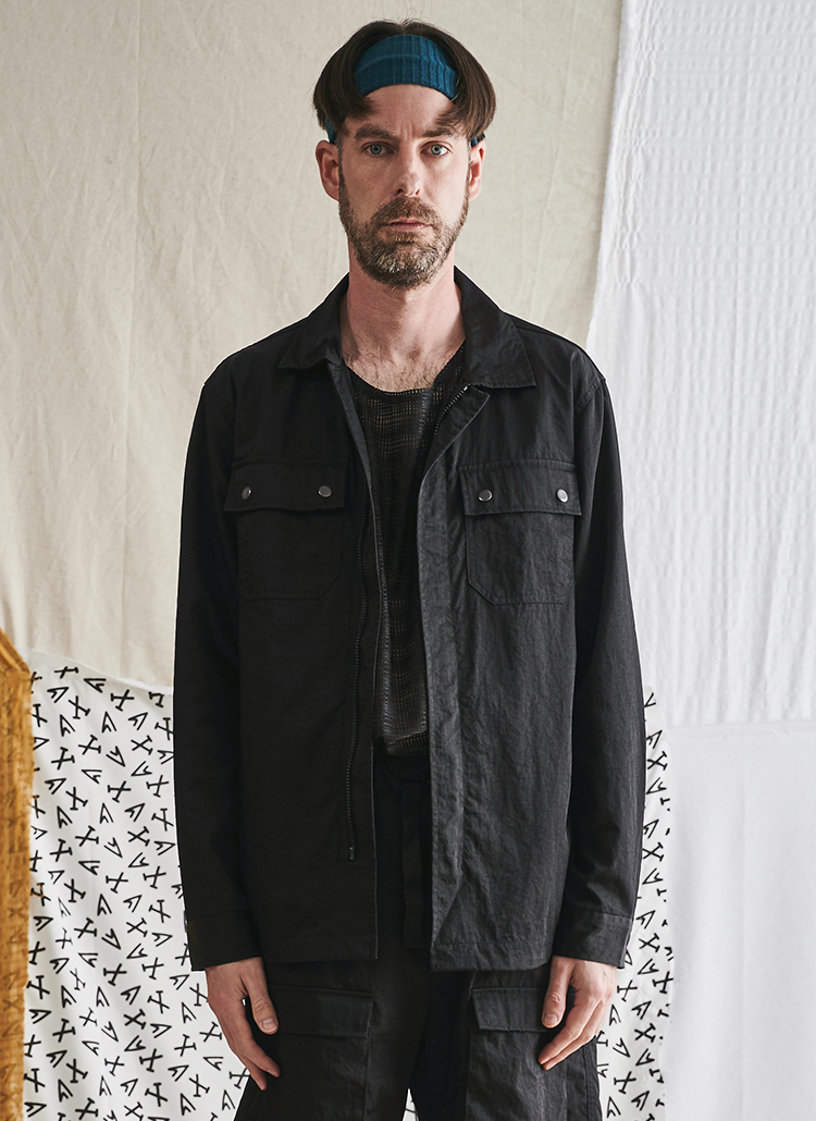 ナイロン混ポケットジャケット(ブラック)