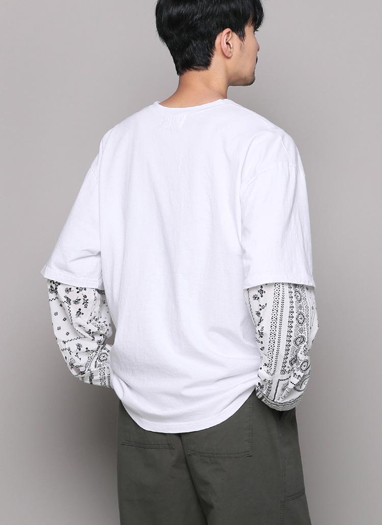 ペイズリースリーブTシャツ・全2色