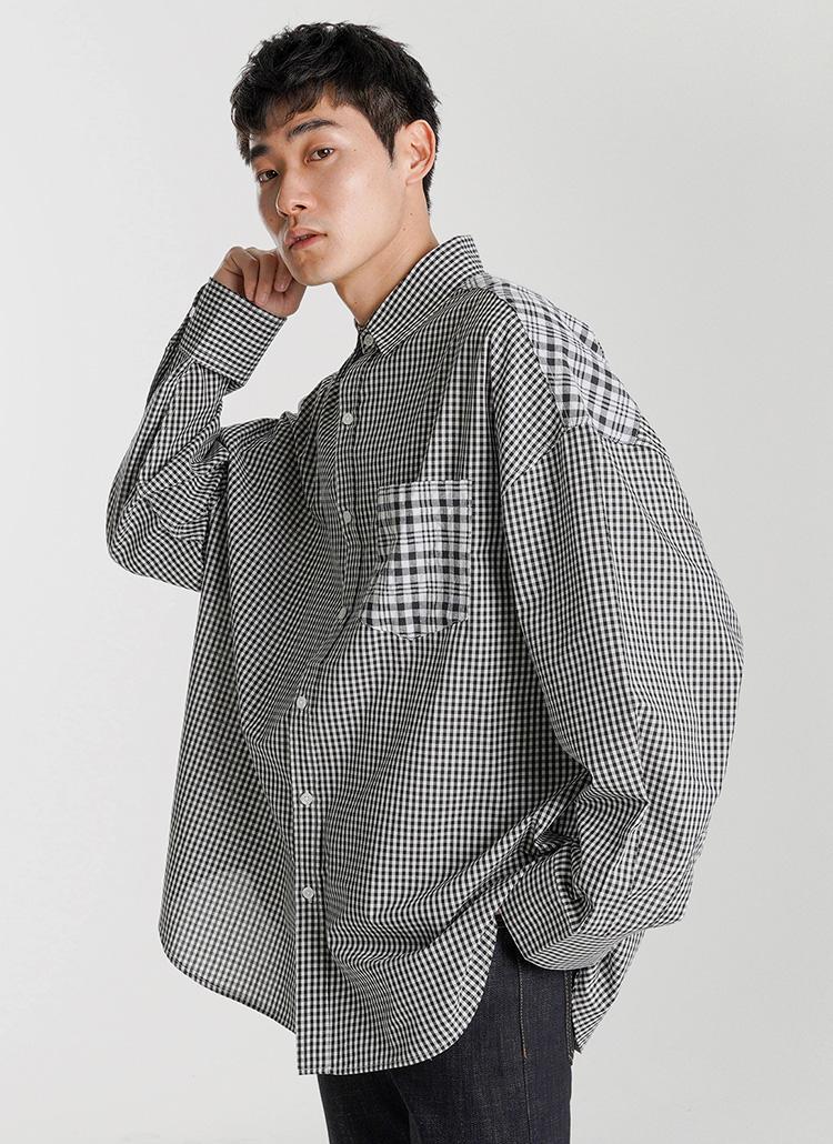 ミックスチェックコットンシャツ・全2色