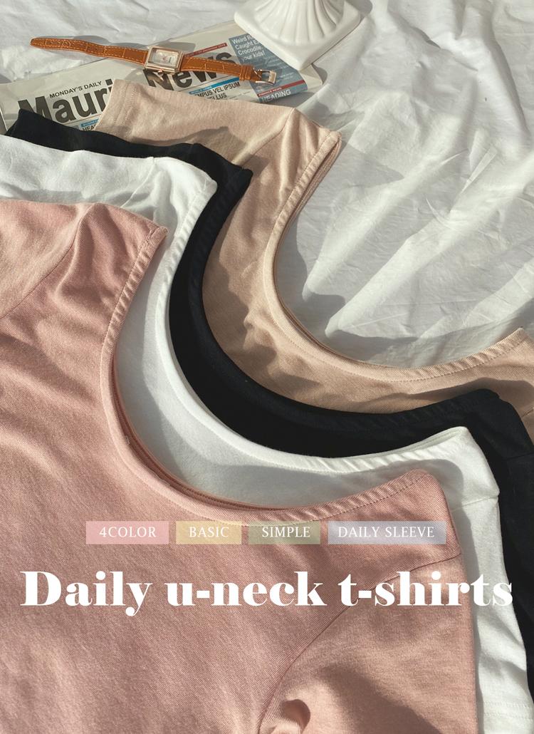 Uネック半袖Tシャツ・全4色