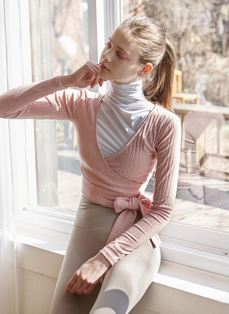 クロスリボンクロップドTシャツ(ピンク)