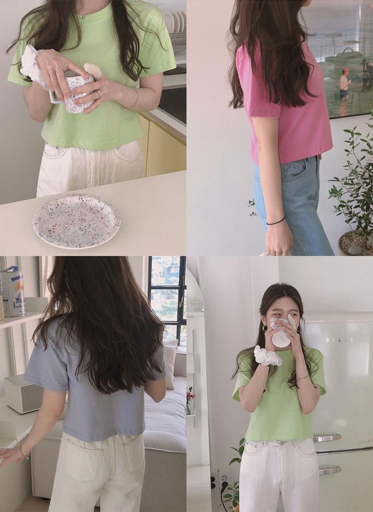 セミクロップドコットン半袖Tシャツ