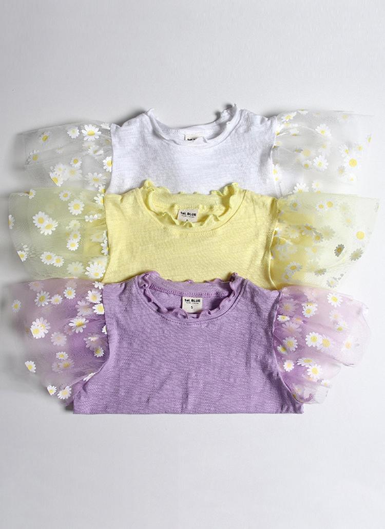 フラワーシアースリーブTシャツ