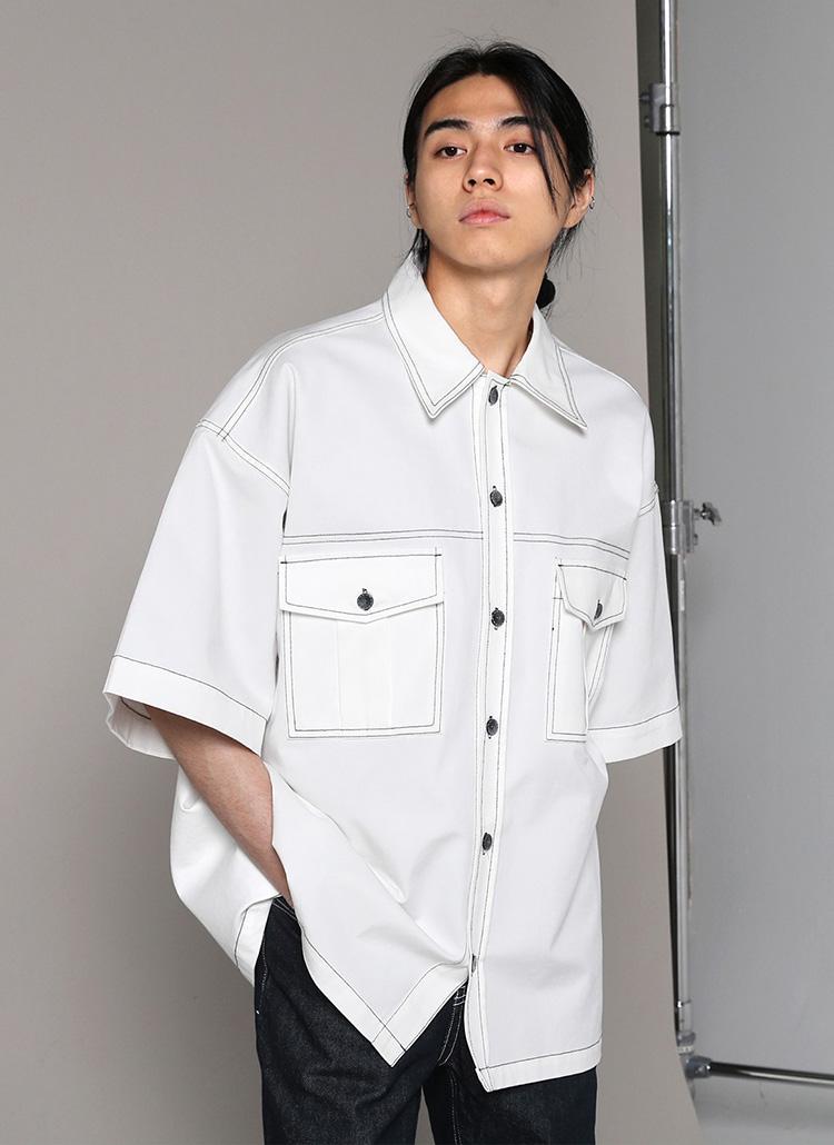 オーバーフィットステッチ半袖シャツ・全4色