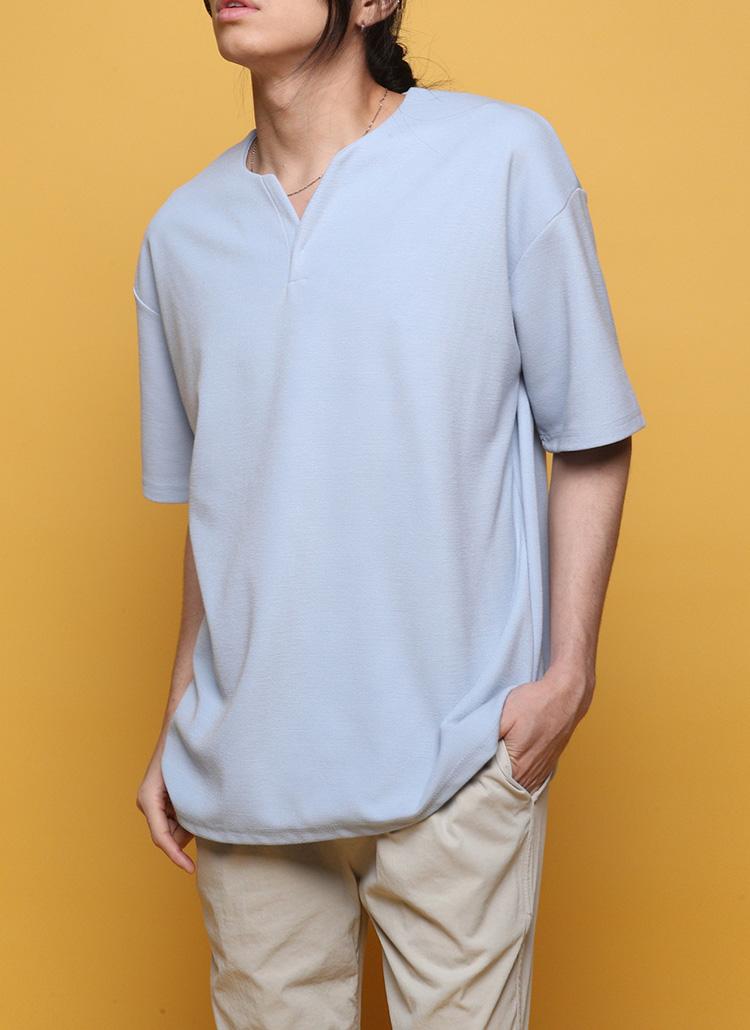 ソフトネックスリット半袖Tシャツ・全5色