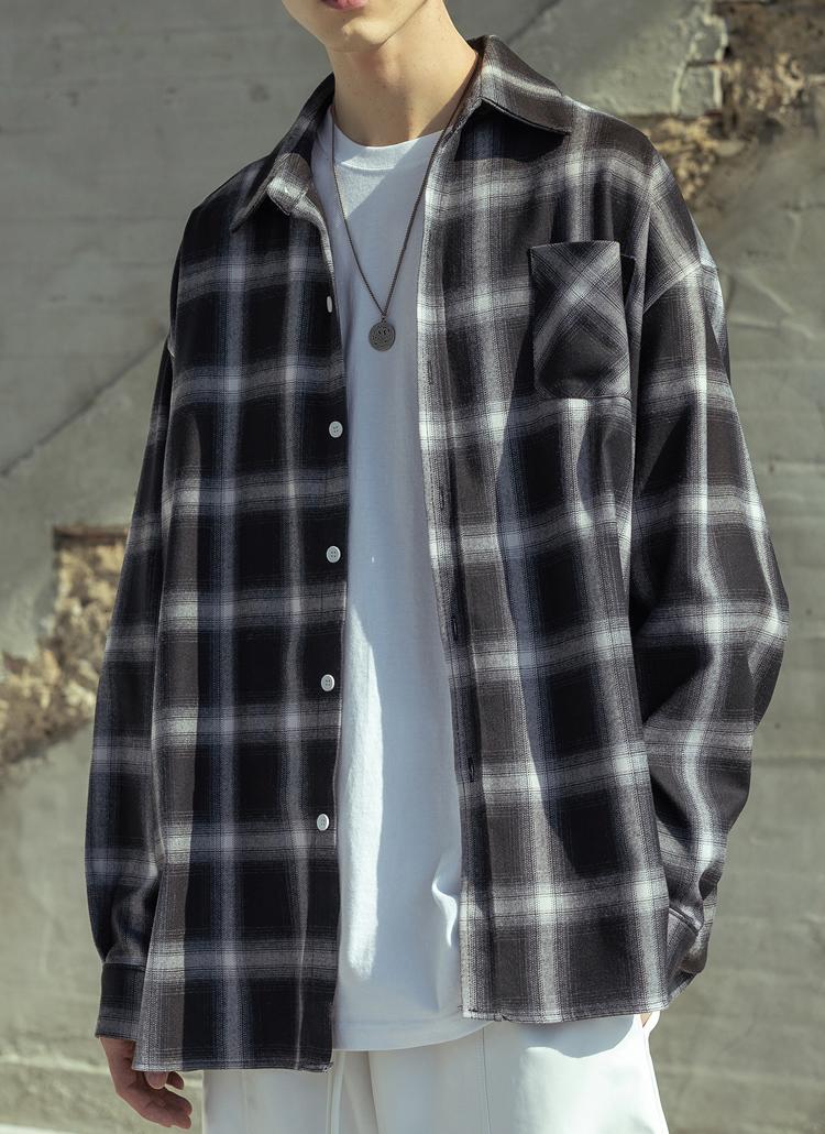 チェックワンポケットシャツ(BLACK)