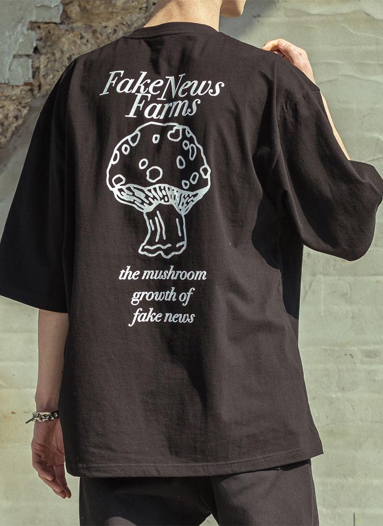 バッグプリントレタリングTシャツ(black)