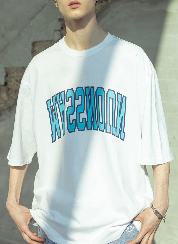 配色ロゴ半袖Tシャツ(WHITE)