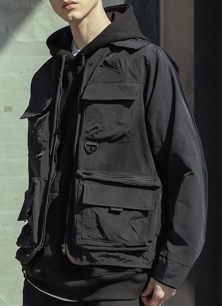 ノーカラースクエアポケットジャケット