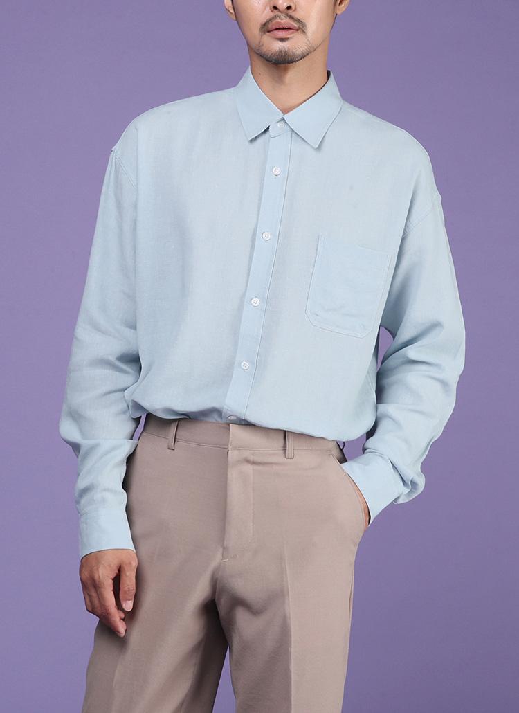 リネンブレンドワンポケシャツ・全6色