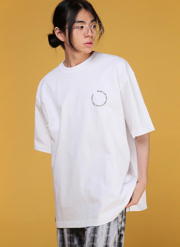 サークルレタリング半袖Tシャツ・全3色