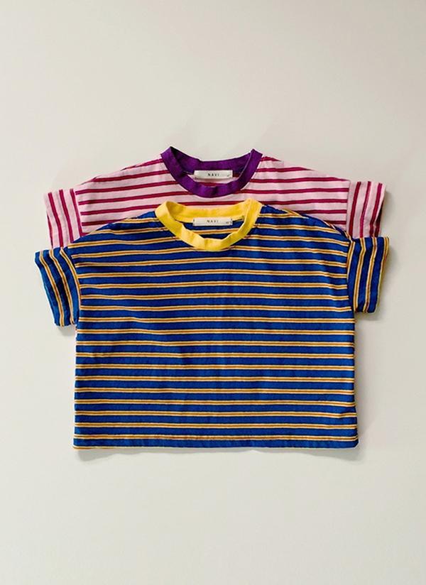 配色ボーダー半袖Tシャツ(junior)