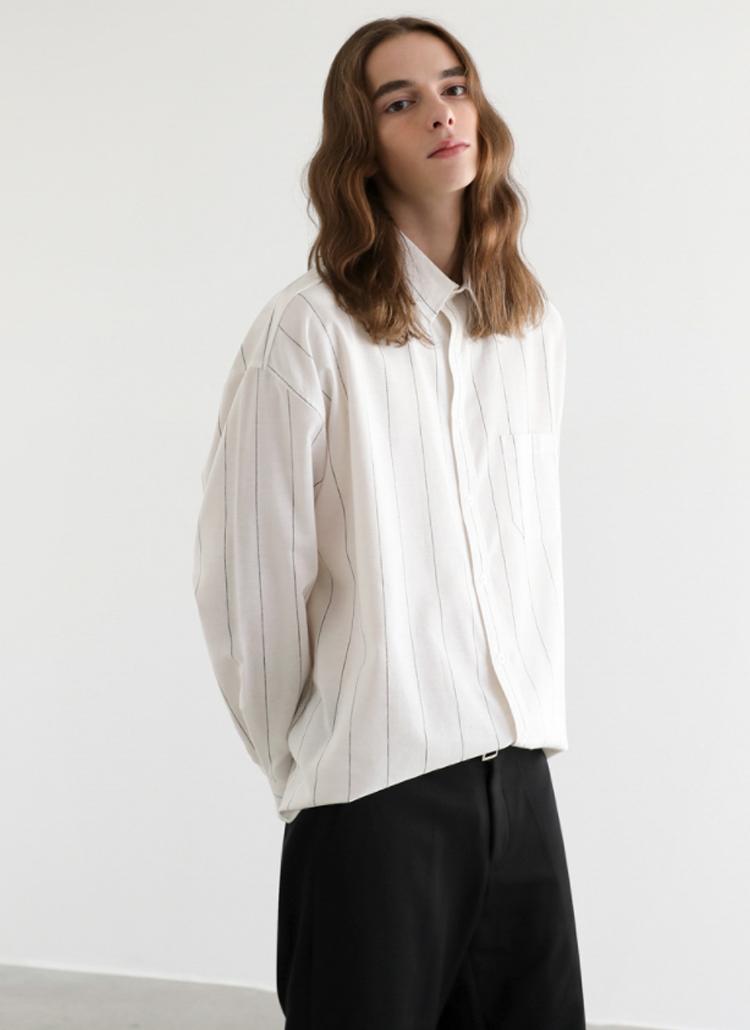 ピンストライプシャツ(ホワイト)