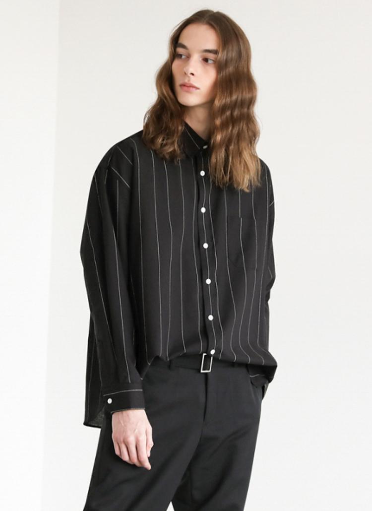 ピンストライプシャツ(Black)