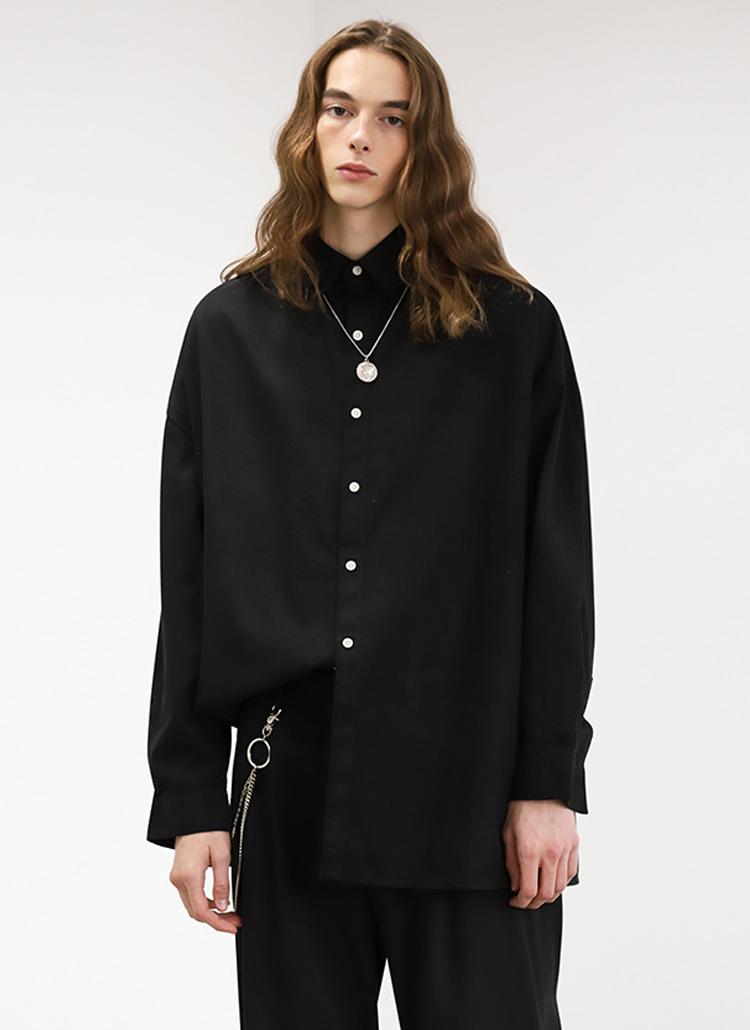 ベーシックコットンシャツ(BLACK)