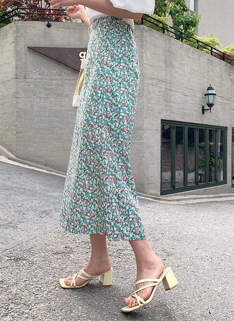 フラワーロングHラインスカート