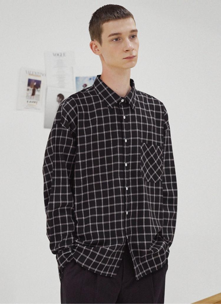 ダブルチェックシャツ(BLACK)