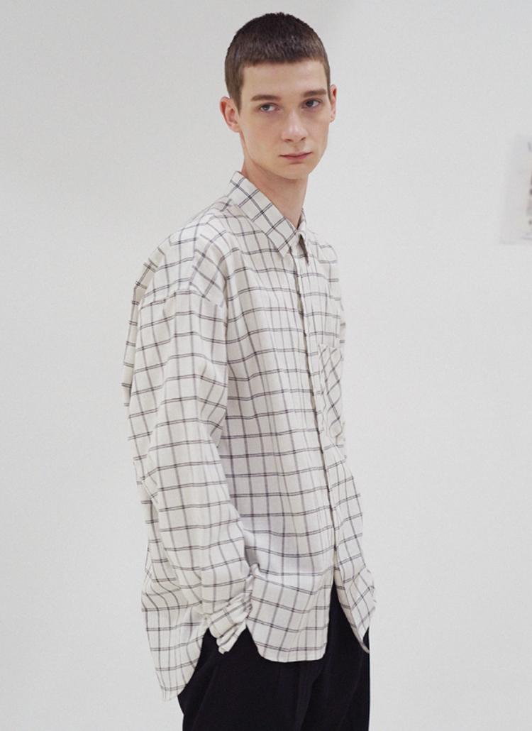 ダブルチェックシャツ(WHITE)