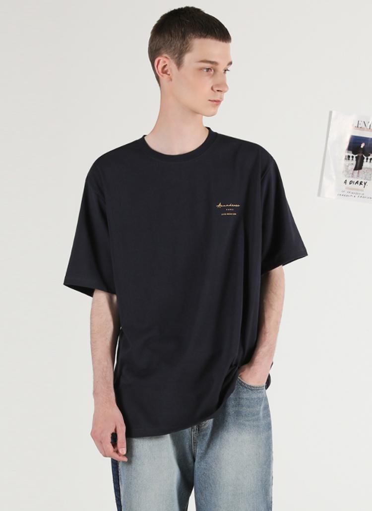 PARISレタリング半袖Tシャツ(NAVY)