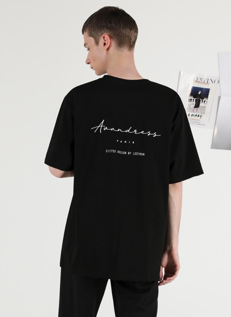 PARISレタリング半袖Tシャツ(BLACK)