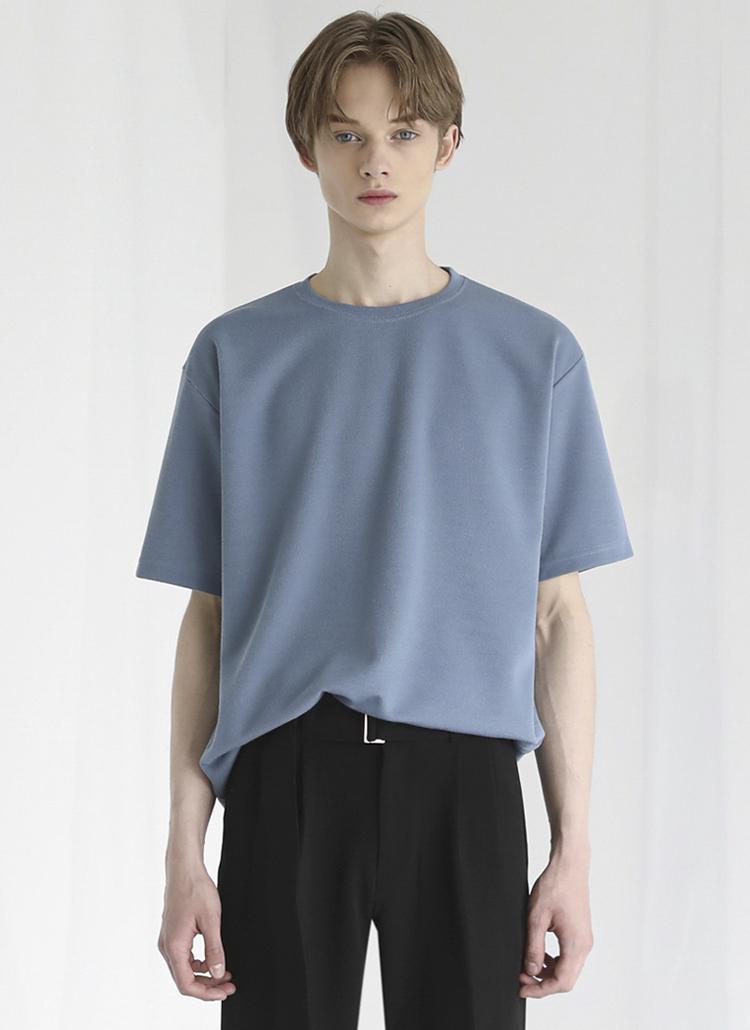 レーヨン混半袖Tシャツ(ブルー)