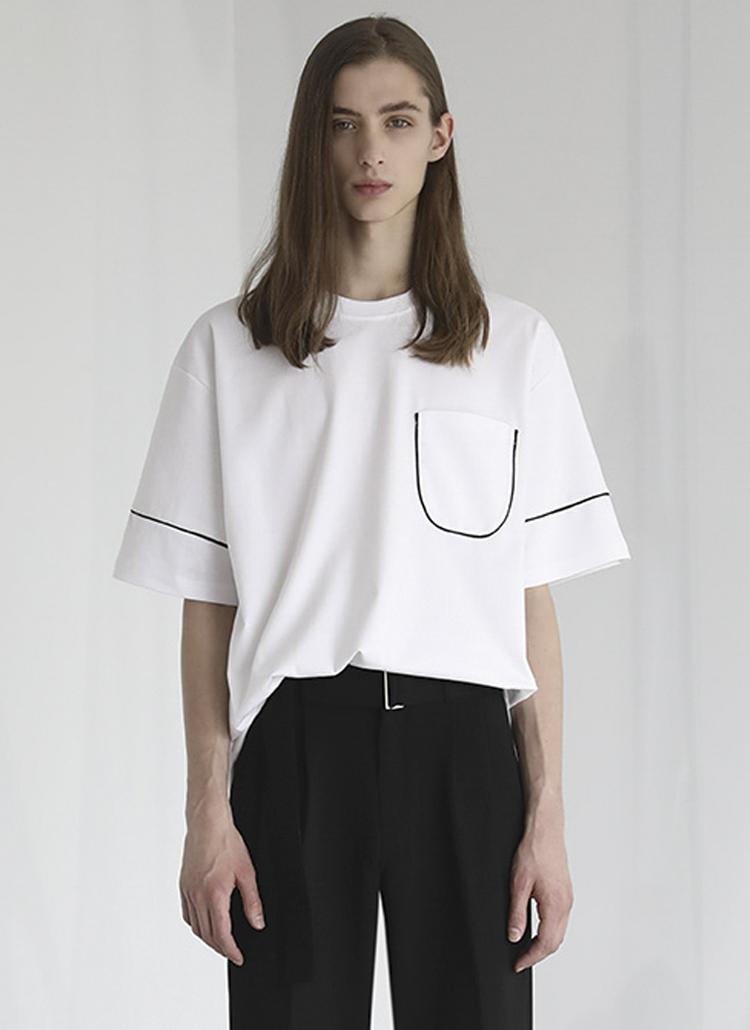 パイピングポケット半袖Tシャツ(ホワイト)