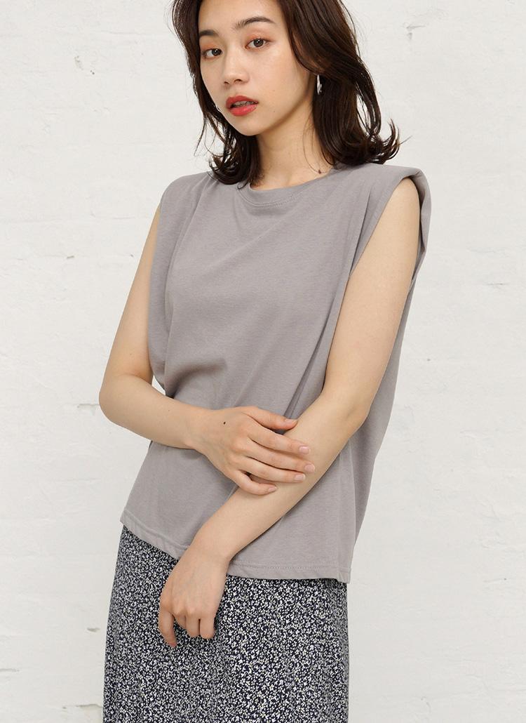 シンプルノースリーブTシャツ・全4色
