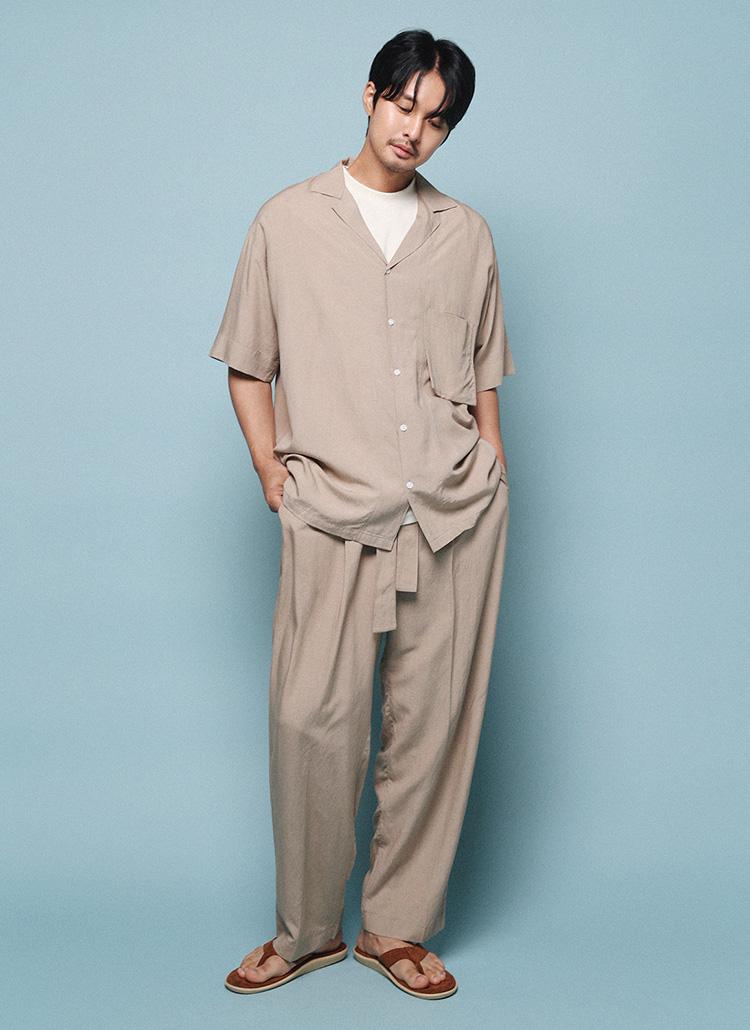 リネン混オープンカラーシャツ&ストラップ付パンツSET・全4色