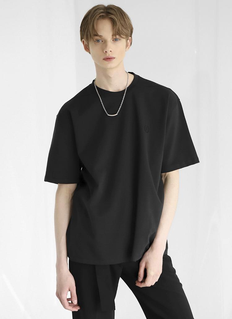 刺繍ワンポイント半袖Tシャツ(Black)