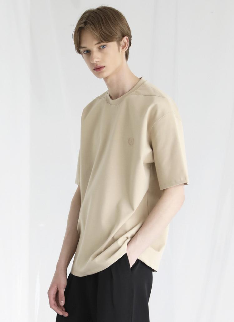 ミニロゴ刺繍半袖Tシャツ(BEIGE)