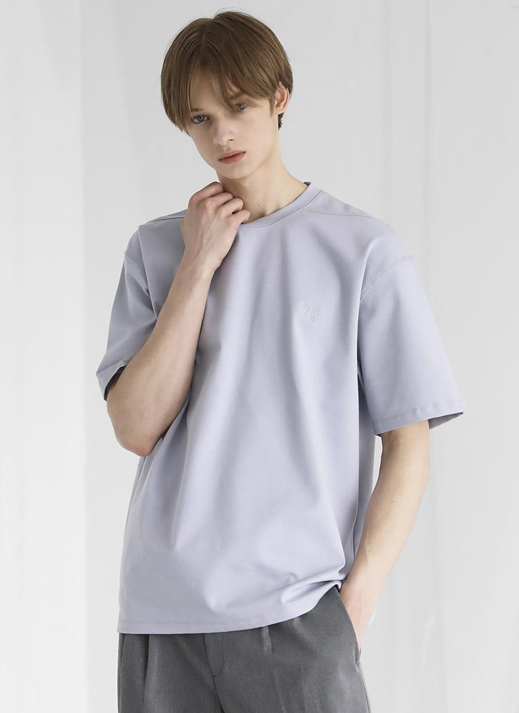 ミニロゴ刺繍半袖Tシャツ(LAVENDER)