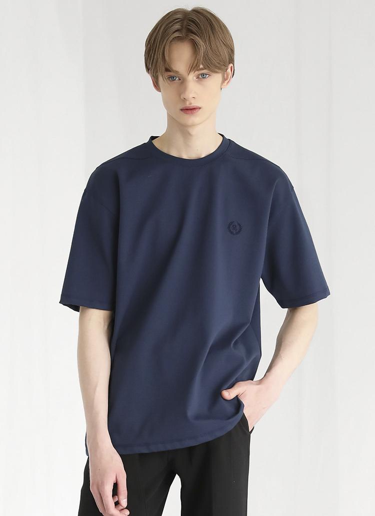 ミニロゴ刺繍半袖Tシャツ(NAVY)