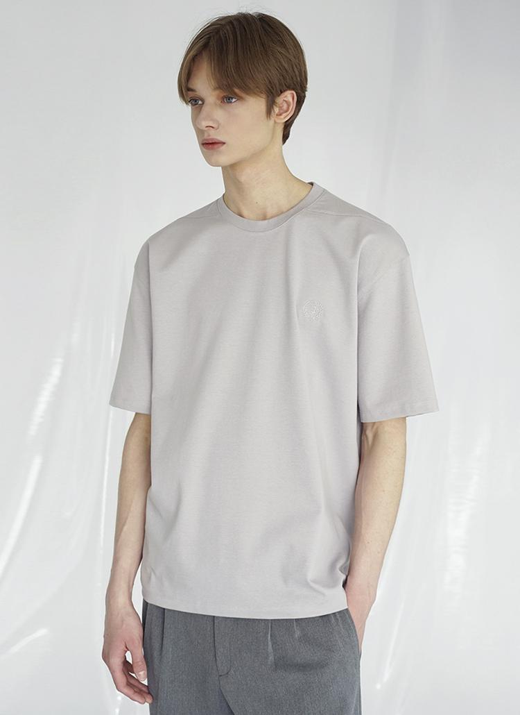 ミニロゴ刺繍半袖Tシャツ(LIGHT GRAY)