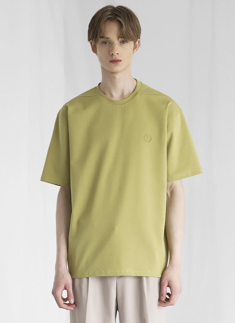 ミニロゴ刺繍半袖Tシャツ(AVOCADO)