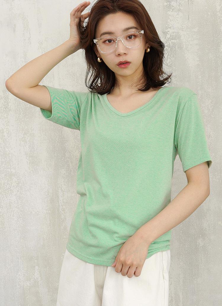 シンプルVネックビッグTシャツ・全3色