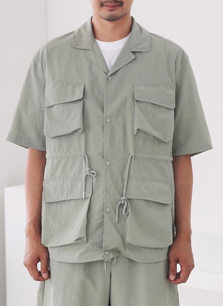 ハイセンスなアウトドアアイテム<br/>ナイロン半袖ジャケット・全3色