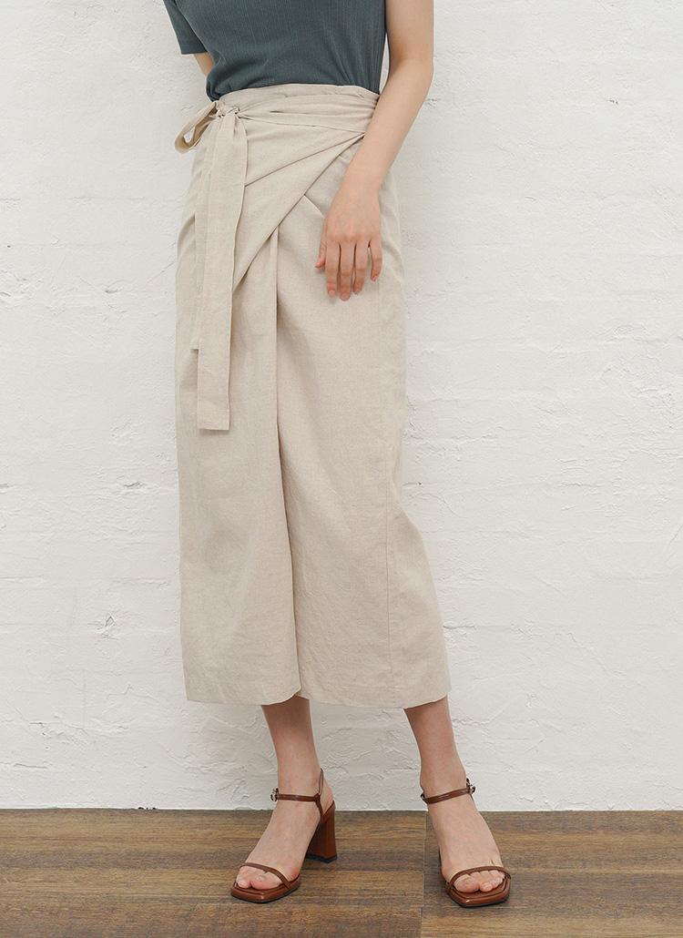 リネンラップスカート・全3色