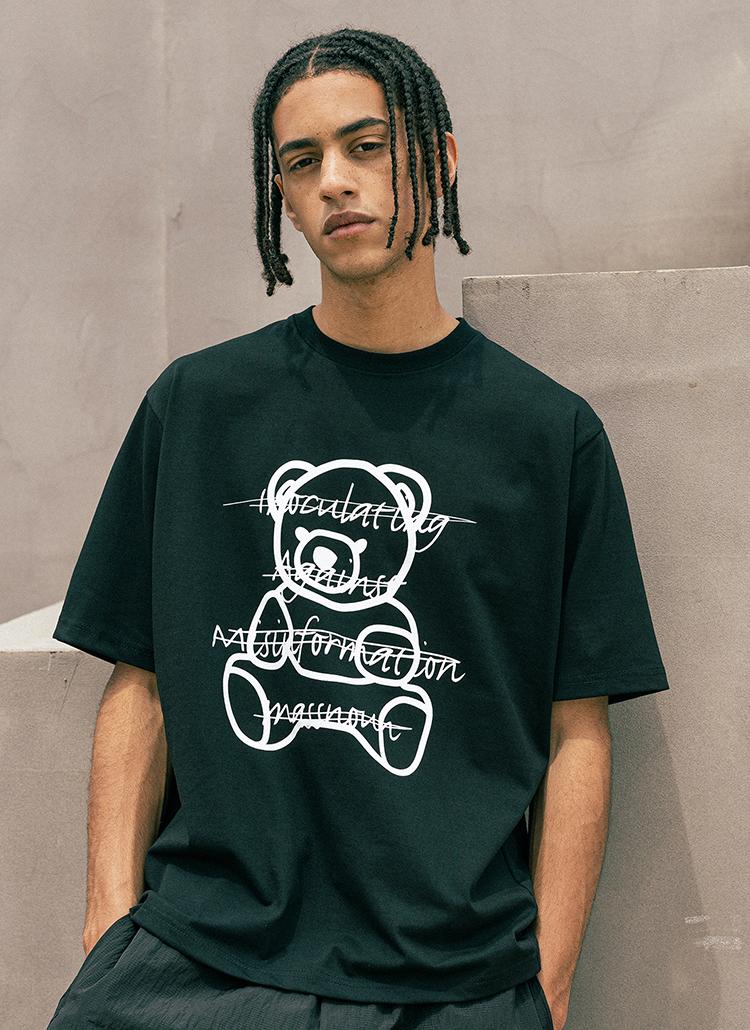 ベアプリント半袖Tシャツ(BLACK)