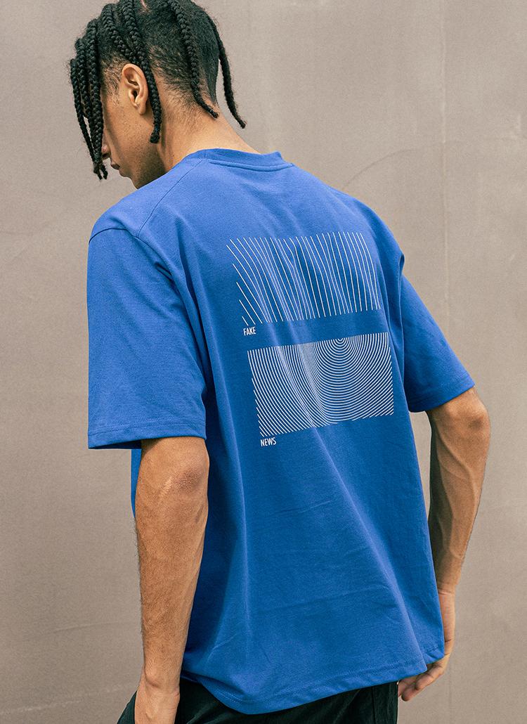 バックラインレタリング半袖Tシャツ(BLUE)