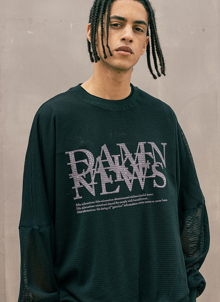 メッシュロゴレタリング長袖Tシャツ(BLACK)